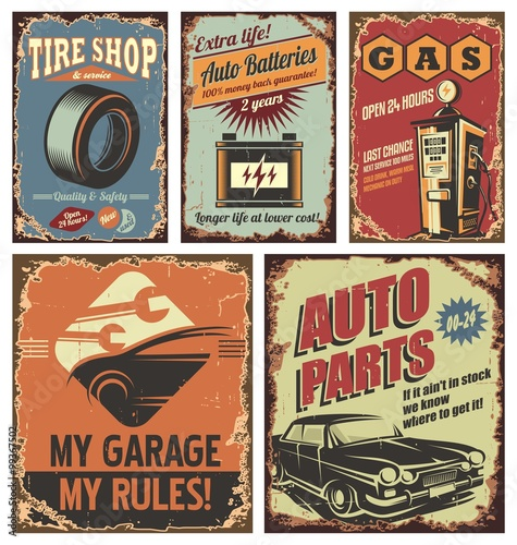 Vintage Metal Car Signs : Quot vintage car service tin signs and posters fichier