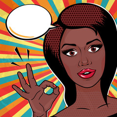 Pop art African American Woman shoing ok sign and smiling, comic style vector illustration. Retro Afro Woman face.