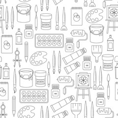 Seamless pattern with drawing and painting tools