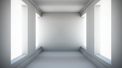 Abstract corridor interior. 3d render illustration