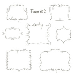 set of doodle frames with love,miss,marry message. simple and cu