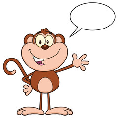 Monkey Cartoon Character Waving For Greeting And Speech Bubble