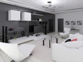 Interer modern spacious living room .