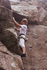 Climberl on rock