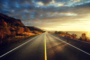 road by the sea in sunrise time,  Lofoten island, Norway Wall mural