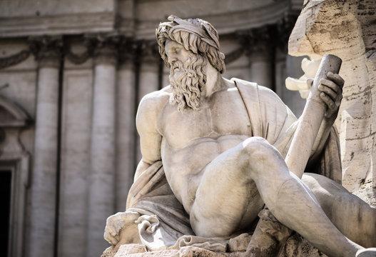Statue of Zeus in Fountain, Piazza Navona, Rome, Italy