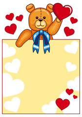 Valentine day  background with cute teddy bear and hearts