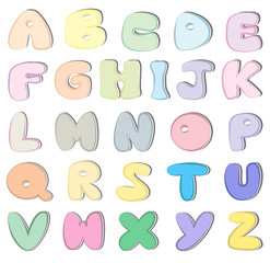 Colorful alphabet set vector.