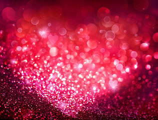 Valentines Day holiday background - Red Bokeh With Hearts Of Lights