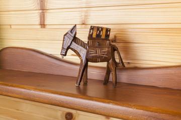 Wooden toy decoration on wood shelf mountain resort