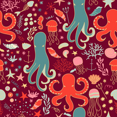 Vector seamless pattern of  sea life.