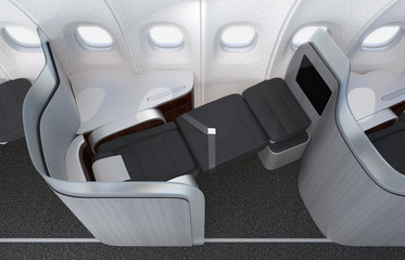 Close-up of luxurious business class seat with frosted acrylic partition. 3D rendering image in original design.
