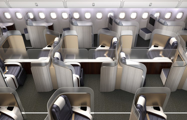 Luxurious business class cabin interior. Each seat divided by frosted acrylic partition. 3D rendering image in original design.