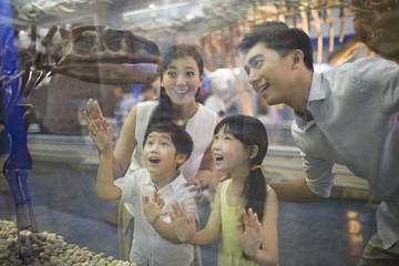 Young family in museum of natural history