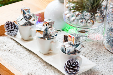 Silver gift box and decoration for christmas and the new year