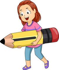 Kid Girl Carry Big Pencil