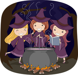 Kids Girls Witch Pot Potion