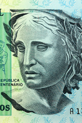 BRAZIL - APPROXIMATELY 1990: allegory of Brazilian woman portrait on 200 Cruzeiros 1990 Banknote from Brazil