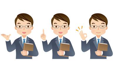 スーツの男性 専門家 表情セット