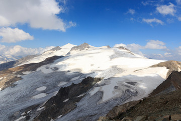 Mountain glacier panorama with summit Großvenediger south face in the Hohe Tauern Alps, Austria