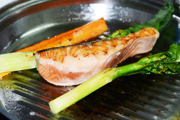 salmon steak and grilled vegetable