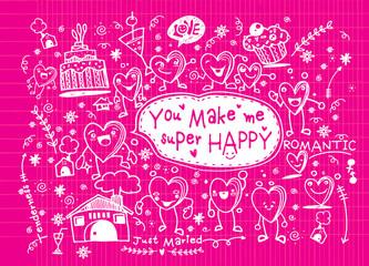 Valentine doodle set ,hand draw love element