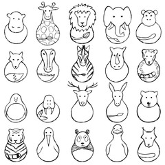 Children drawing of animal  toys