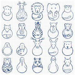 Children drawing of animal  toys on squared background