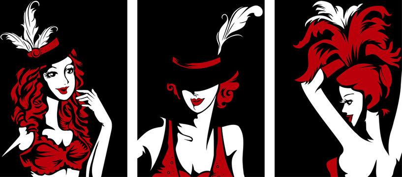 Girls Cabaret Performer Stencil