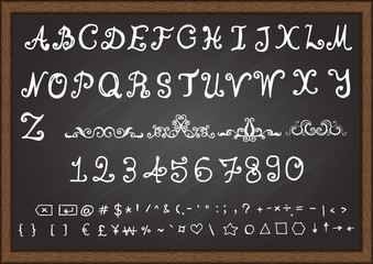 Hand drawn fonts. Uppercase letters,lowercase letters,numbers symbols on smart phone keyboard.Ornamental scroll.