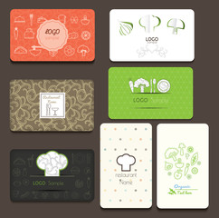 Set of business cards. For cafe and restaurant. Vector illustration