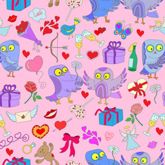 Seamless background with owls in love, Valentine's day