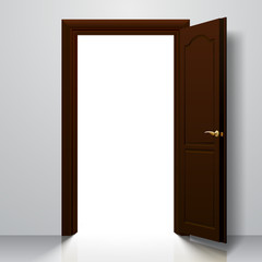 Dark brown open door