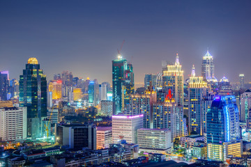 Bangkok Cityscape, Business district with high building at night, Bangkok, Thailand