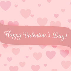 Valentines Day realistic pink festive Label