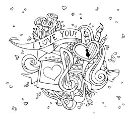 Vector I Love You doodles illustration.