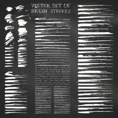 Set of vector chalk brush strokes.