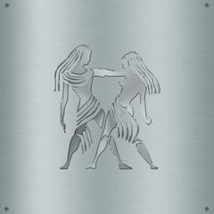 Horoscope zodiac sign Gemini in metal plate