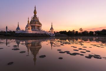 beautiful buddhist pagoda at dust