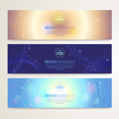 Set of abstract banner design with line sparkle background in ve