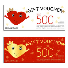 gift voucher vector coupon Valentine's Day heart