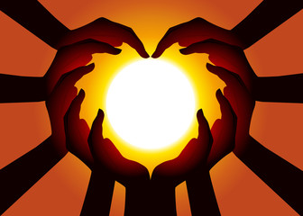 Mains énergie Cœur Soleil