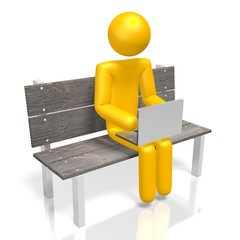 3D human character and laptop