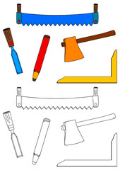 Carpentry tools, saw, ax, chisel, square and pencil as a coloring book for kids - vector svg