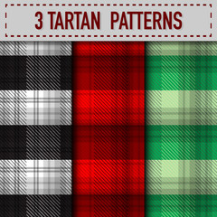 Set of three Tartan Plaid samples in vector seamless pattern. Pattern swatches included in file.