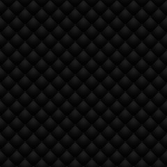 Matte black quilted leather upholstery. Digitally generated leather upholstery raster seamless pattern for web and graphic design, 3D rendering.