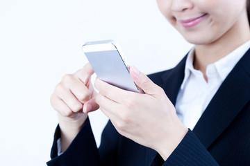 ビジネスウーマン スマートフォン セルフォン モバイルフォン スワイプ インターネット