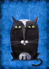 Black Cat Like Owl On Blue Background