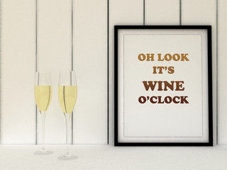 Poster in frame Oh look it's wine o'clock. Kitchen art. Wine Poster, Funny Quote,  Housewarming Gift, Wall Decor, Kitchen Decor.Scandinavian style home interior decoration