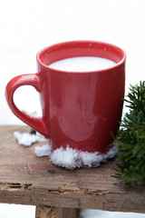 A cup of milk in the snow
